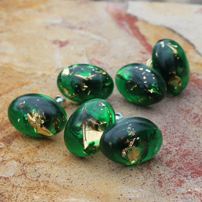 DIY: Gold Leaf Emerald Cabinet Knobs - Resin Crafts