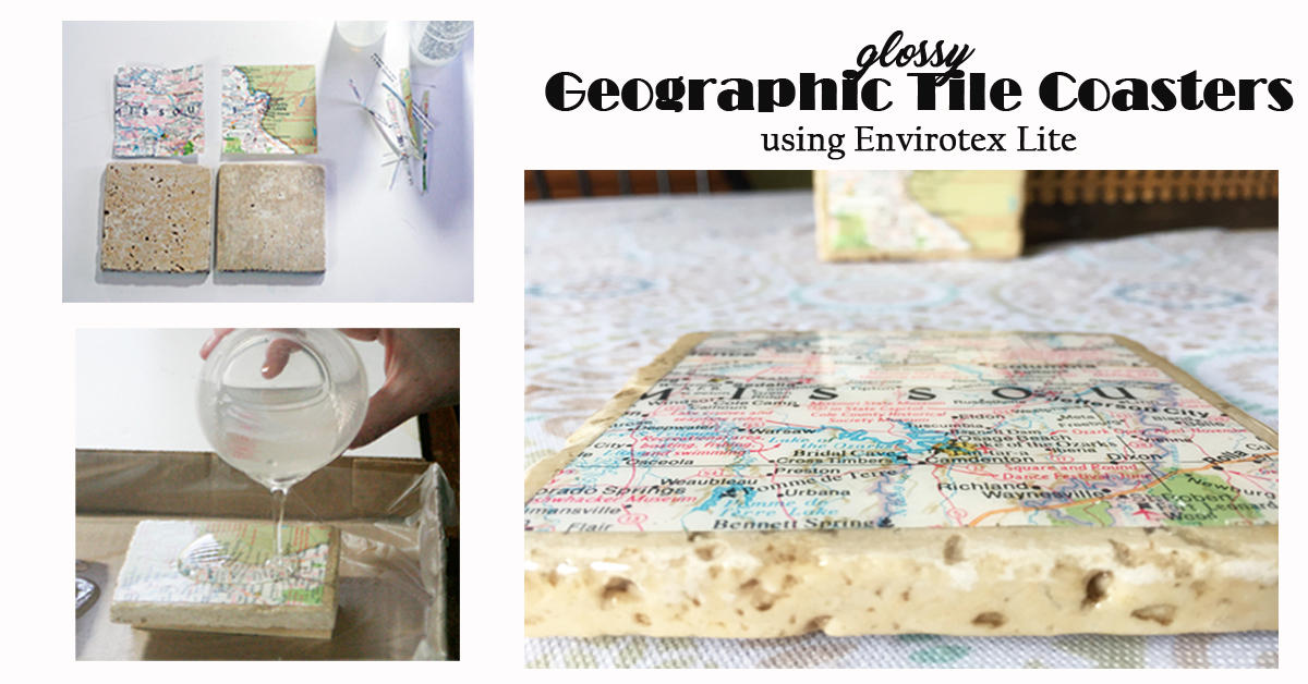 Geographic Tile Coasters Using Envirotex Lite Resin Crafts