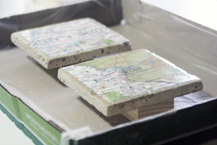 Geographic Tile Coasters - Ultra Seal all dried