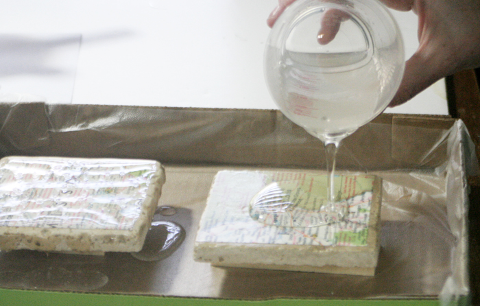 Geographic Tile Coasters - pouring Envirotex Lite onto coasters