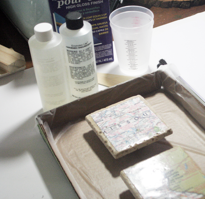 Geographic Tile Coasters - supplies needed for epoxy coating