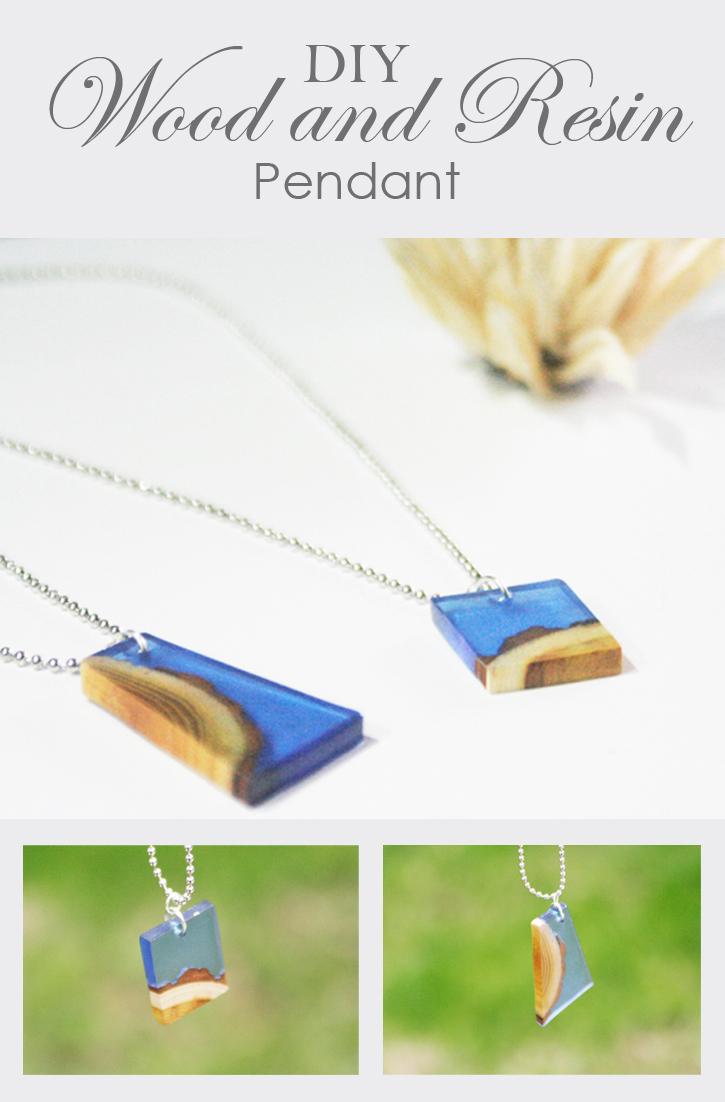 wood and resin pendant - pinnable image