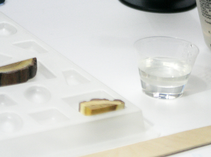 wood resin pendant - adding part B hardener to part A resin