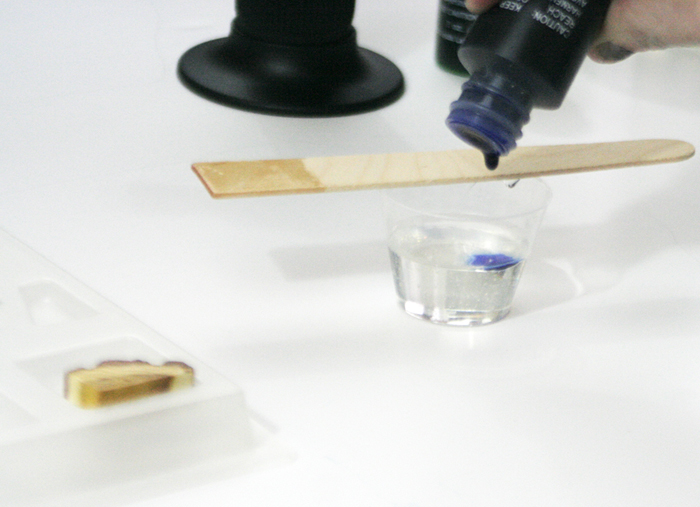 wood resin pendant - adding transparent blue pigment dye