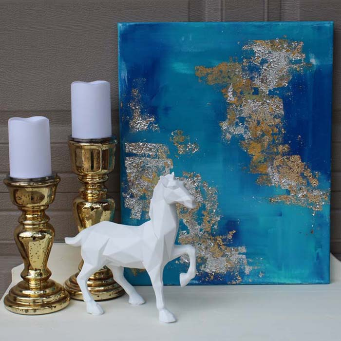 Canvas Gold Leaf High Gloss Resin Painting - Resin Crafts