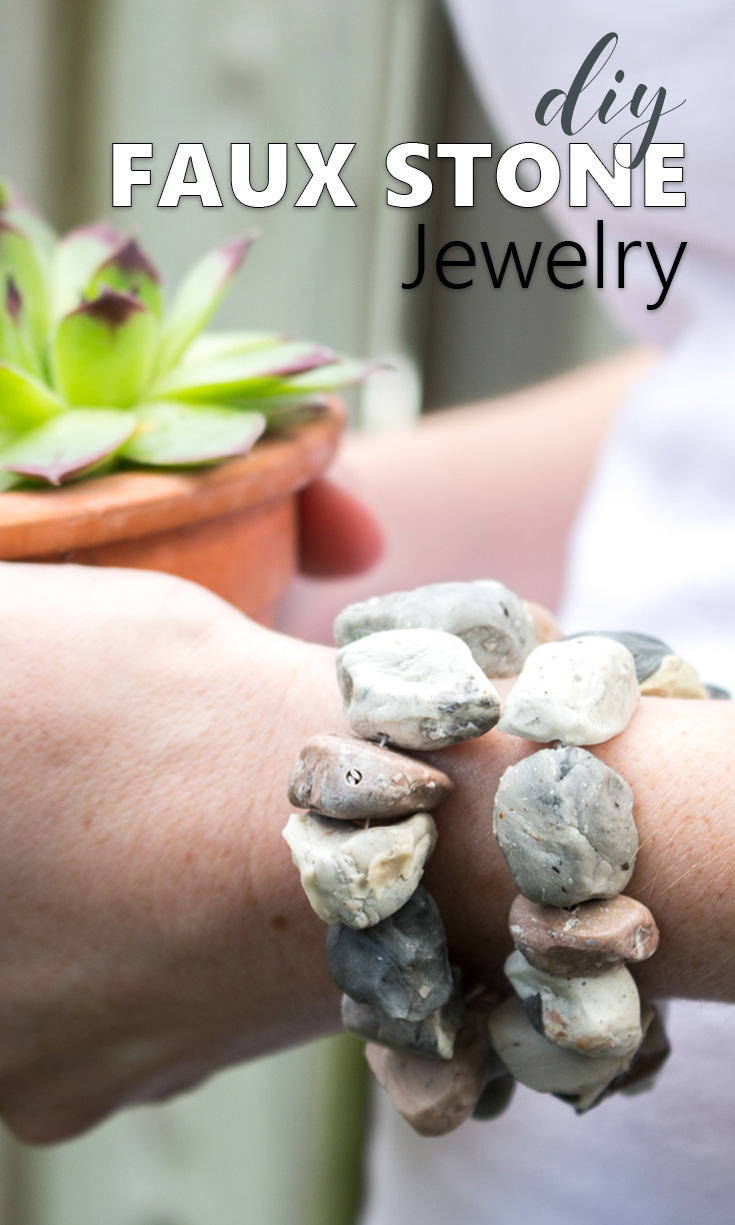 Make a rustic and boho inspired faux stone bracelet with EasySculpt clay!