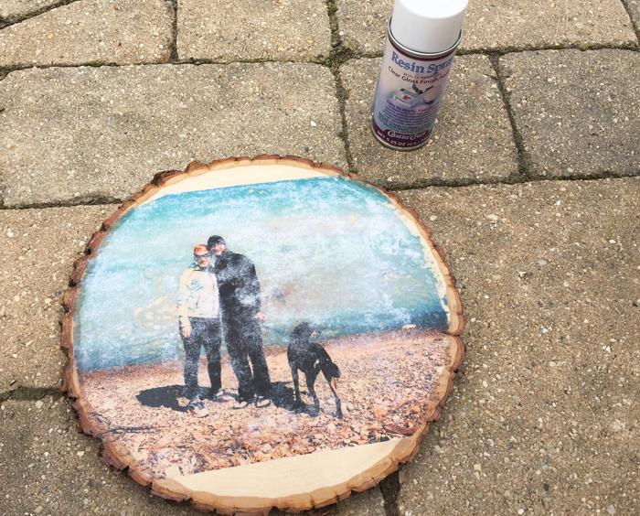 Glossy Wood Slice Photo Transfer - spray resin spray outside