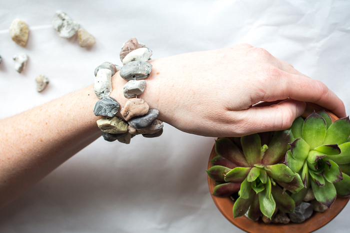 DIY boho jewelry ideas - learn to make a stacked faux stone bracelet.