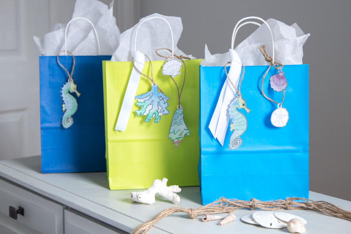 DIY paper embellishments! Perfect for beach-theme party gift tags, greeting card making or scrapbooking.
