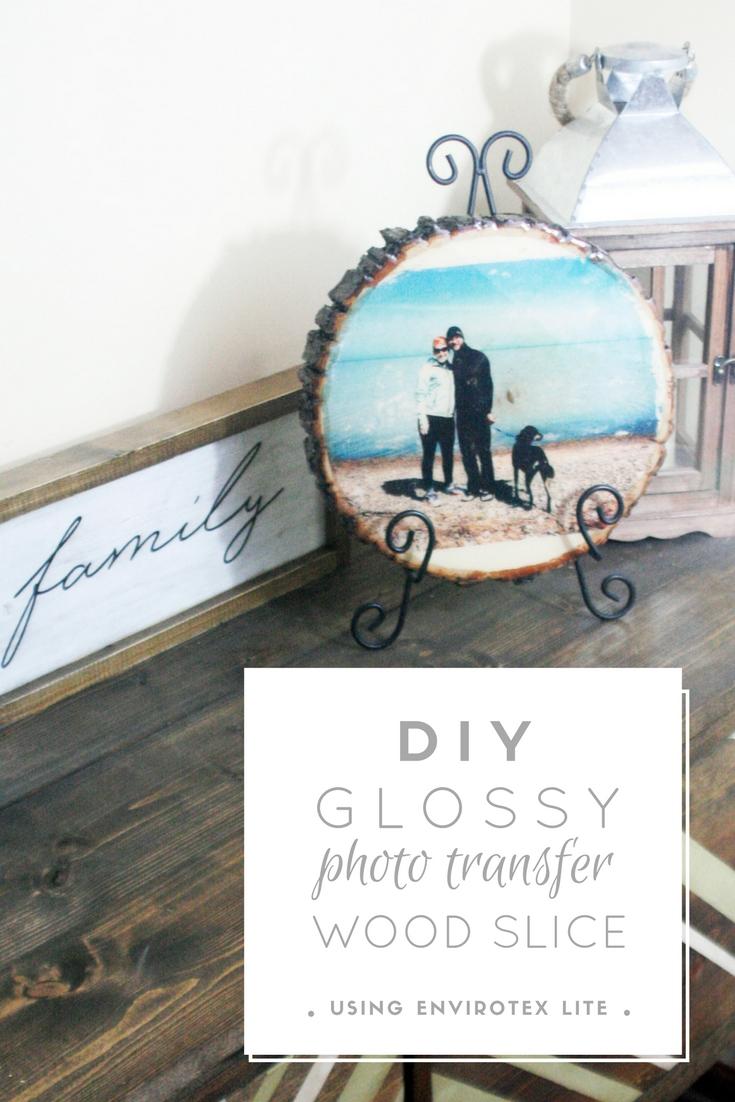glossy photo transfer wood slice