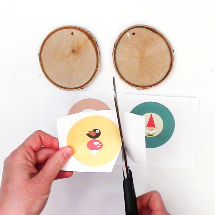 Woodland creatures circular images cut to size to transfer onto wood slices