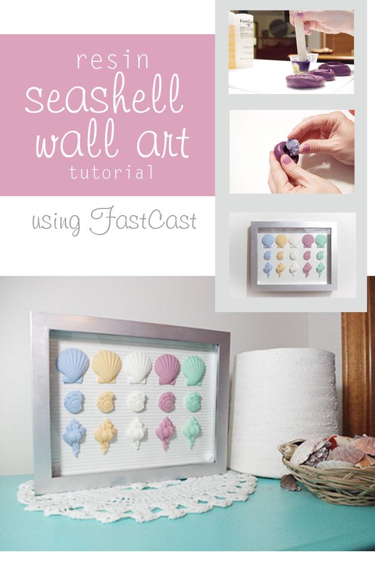 Resin Seashell Wall Art - make awesome seashells using Fastcast resin and seashell molds - resin crafts - resin crafts blog @resincraftsblog
