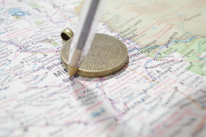 Resin map Pendant - trace map area you want to use
