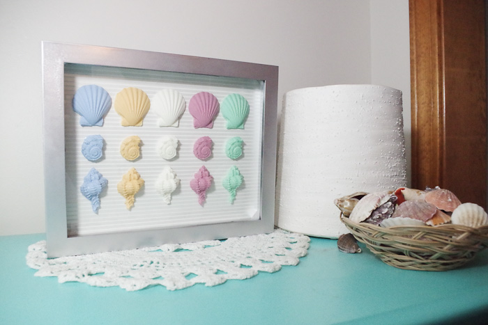 Resin Seashell Wall Art - completed wall art using resin seashells and shadowbox