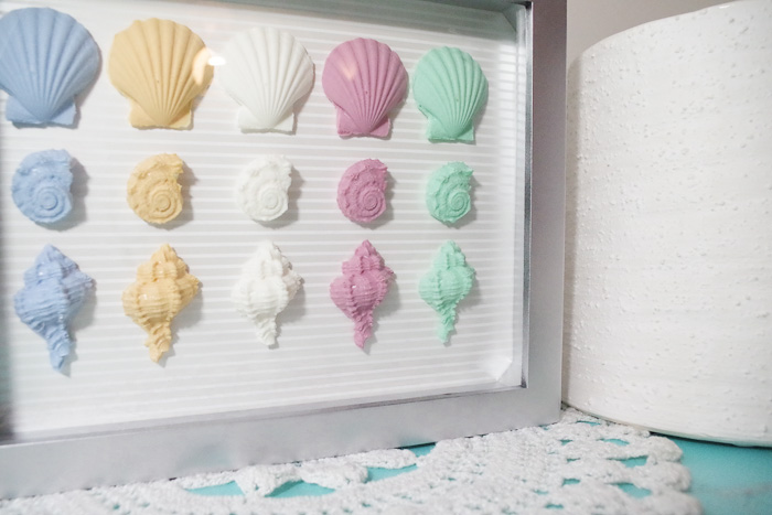 Resin Seashell Wall Art - completed wall art in shadow box