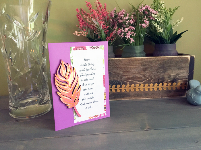 Shiny Wood Cutouts - Finished Feather Card