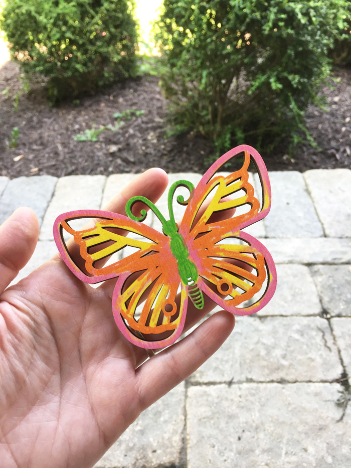 Shiny Wood Cutouts - colored butterfly, no resin
