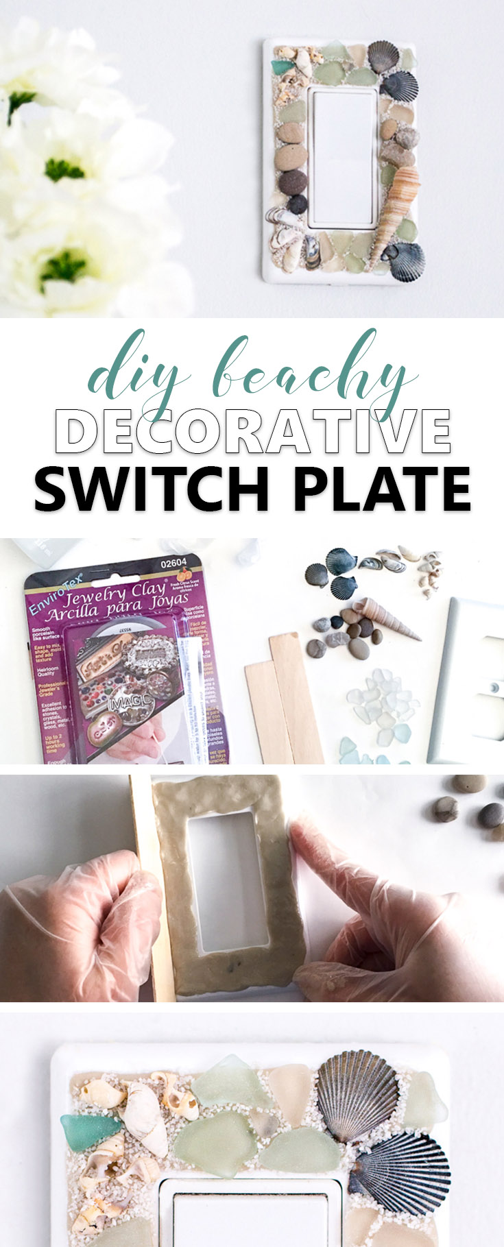 Learn how to make your own beachy decorative switch plates with sea glass, stones and shells. An easy way to embellish those light switch covers for a coastal vibe!