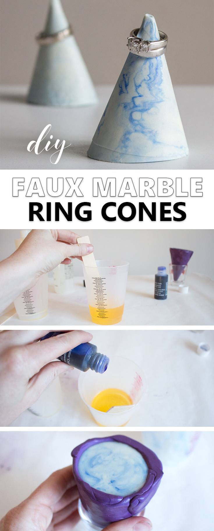 Make your own trendy faux-marble ring cone with resin! A quick DIY jewelry organizer that makes a great gift idea!