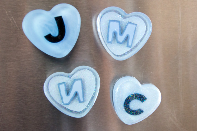 DIY fridge magnets made with EnviroTex Lite Epoxy resin. Fun back-to-school craft idea.