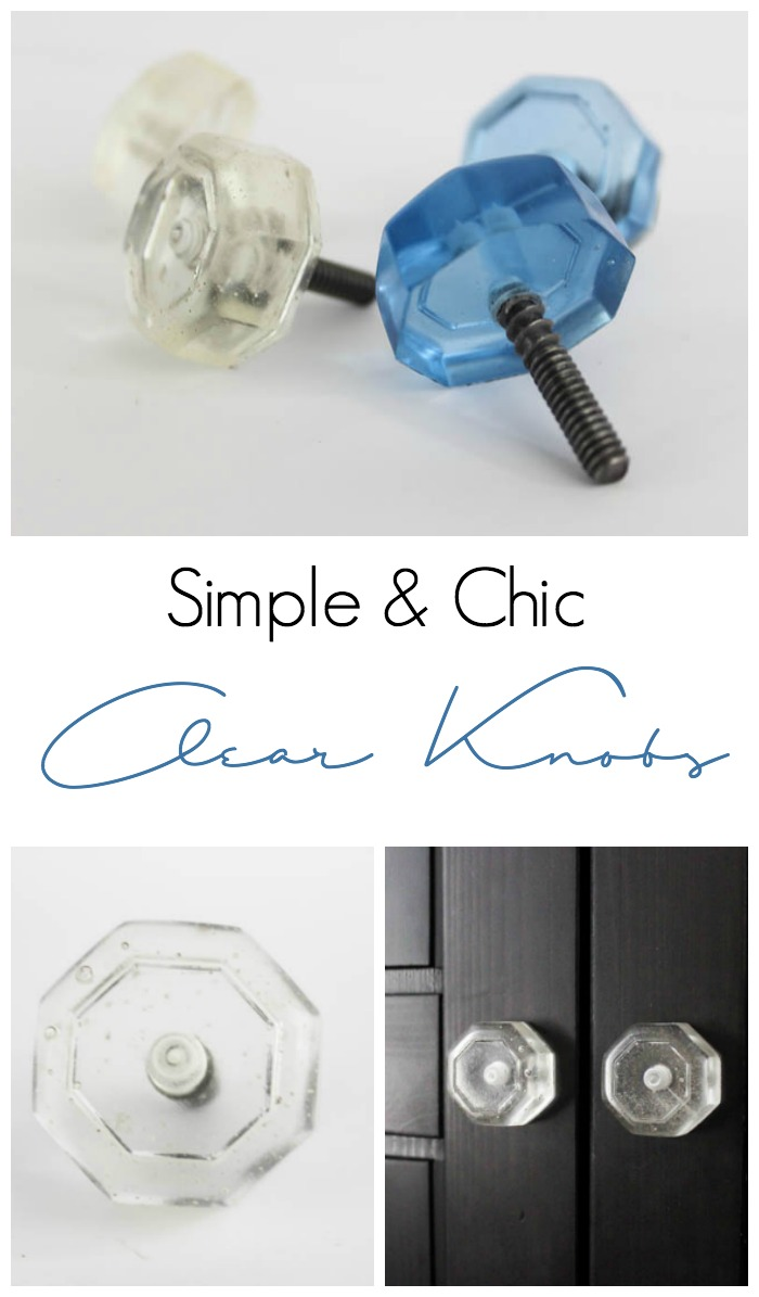 Make your own simple and chic clear knobs using resin. This fun DIY will add a custom feel to your cabinets or dressers. The transparent finish lets you see the hardware inside the knob that will be sure to grab the attention of guests!