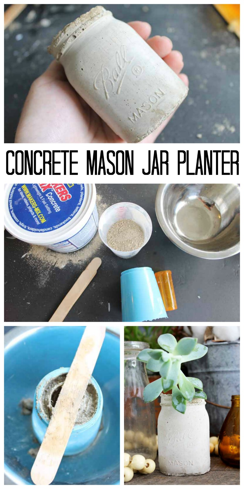 Make a concrete mason jar planter with a few supplies! You will love the results!