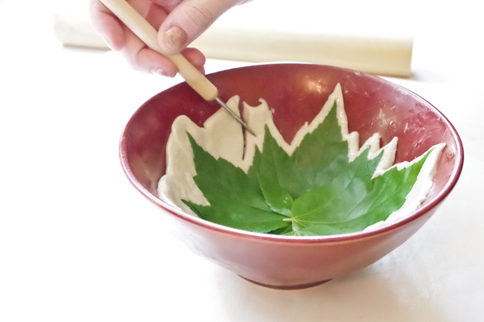 DIY Leaf Imprint Clay Bowls- cut out excess clay