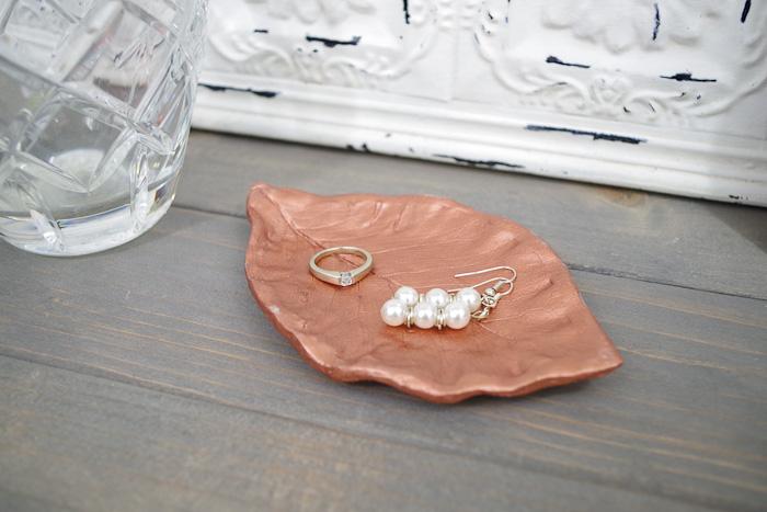 DIY Leaf Imprint Clay Bowls- final single leaf bowl above view