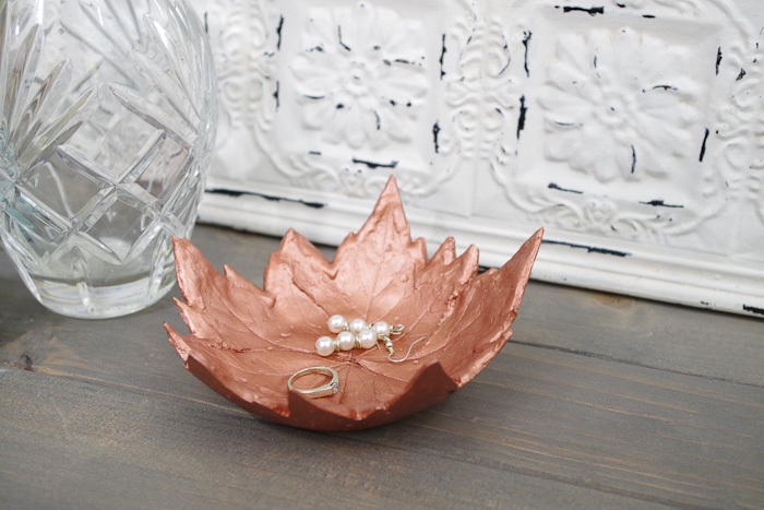 DIY Leaf Imprint Clay dish- multi leaf bowl holding jewelry sideview