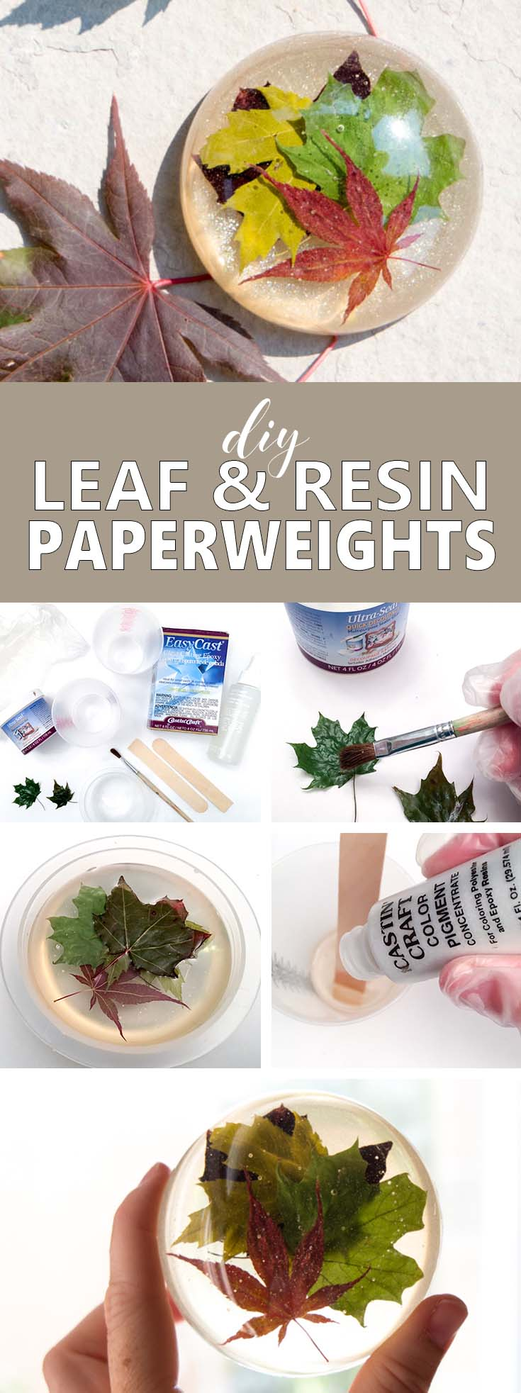Capture the natural beauty of the late summer with a one-of-a-kind maple leaf resin paperweight. A full tutorial is included for this office DIY idea!