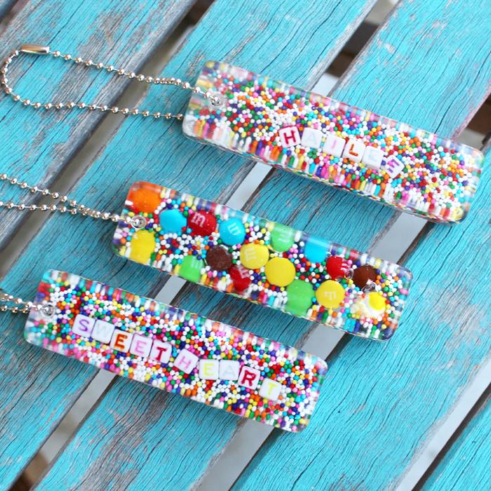 candy sprinkles resin keychain diy resin crafts