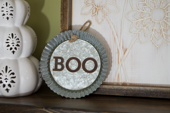 resin Halloween decorations - Boo metal tin - finished and displayed on shelf