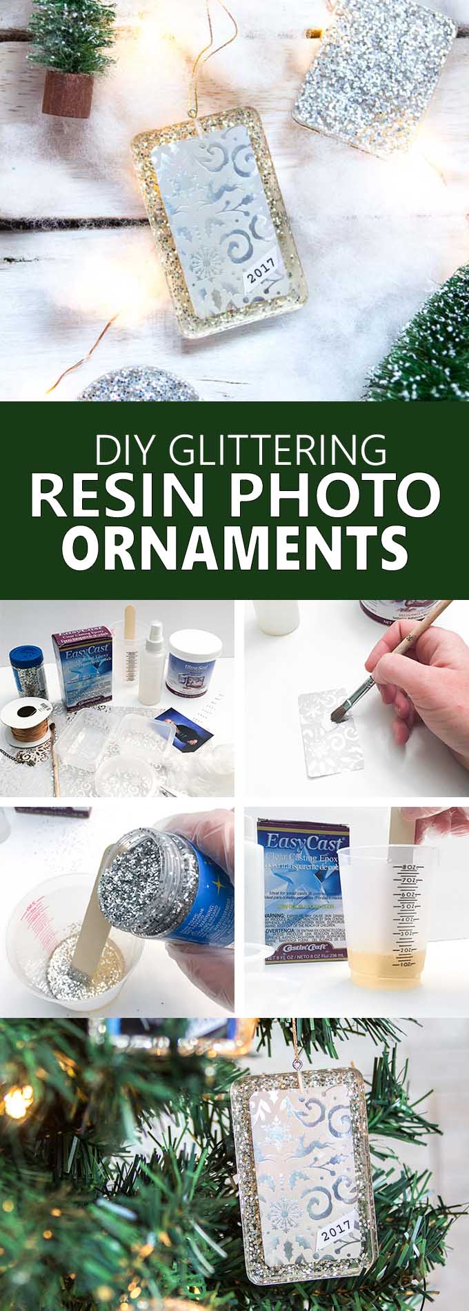 Beautiful DIY resin photo ornaments! Tutorial for Christmas ornaments with school photos. Gift idea for grandparents. #Christmasornaments #diyornaments #keepsake #giftforgrandma