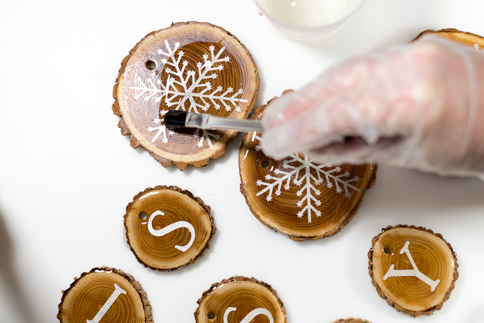 Resin Coated Merry Christmas Wood Slice Garland - use acid brush to coat entire top with resin