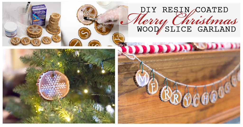 Resin Coated Merry Christmas Wood Slice Garland Social Media Image
