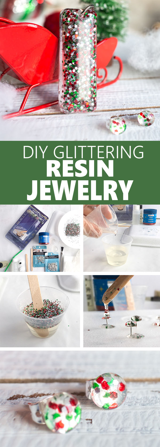 Festive DIY resin earrings! Such a cute and easy gift idea for a child, coworker, family member or friend. Resin jewelry tutorial #resincrafts #resincraftsblog #diyjewelry #diyjewellery #Christmasjewelry