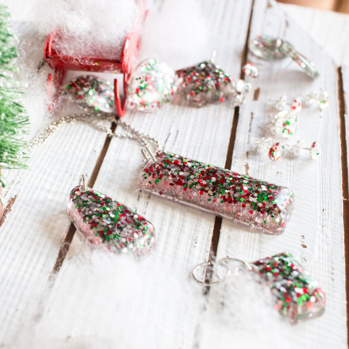 Christmas Glitter Diy Resin Stud Earrings And Pendants