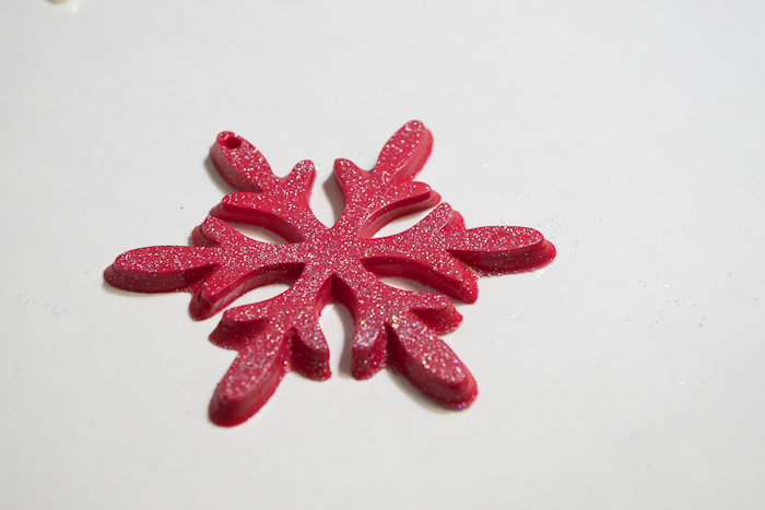 Snowflake mold and castings - red fastcast snowflake with glitter