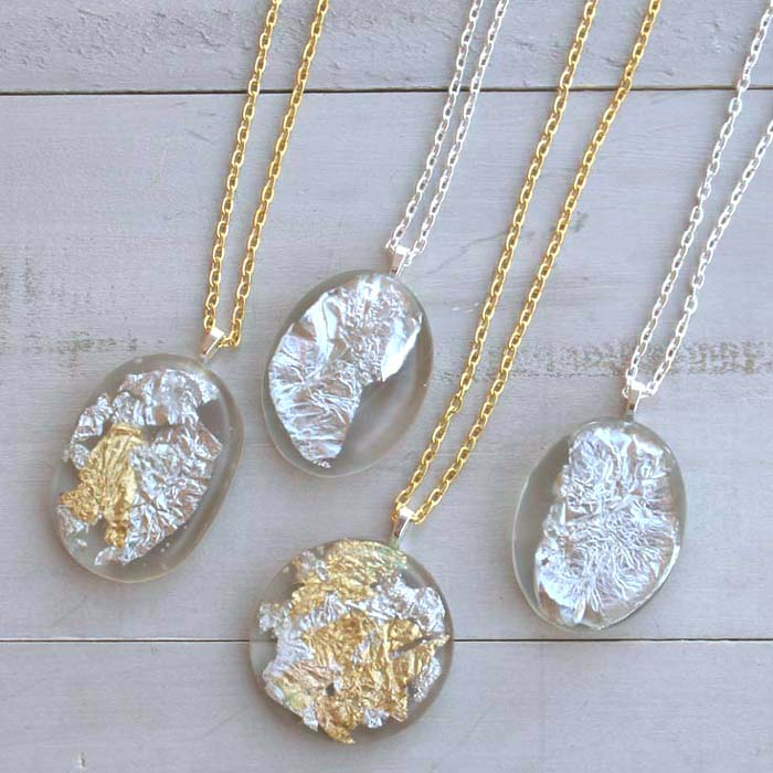 Diy gold silver leaf resin pendants resin crafts save aloadofball Image collections