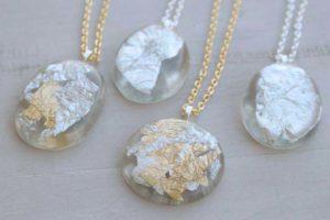 DIY: Gold Silver Leaf Resin Pendants