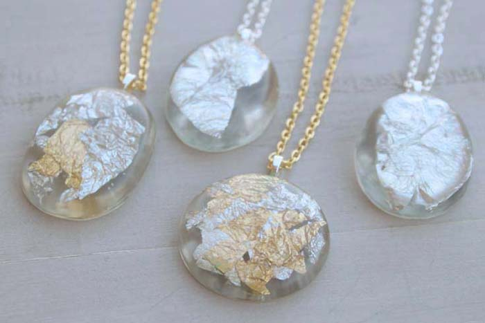 DIY: Gold Silver Leaf Resin Pendants - Resin Crafts