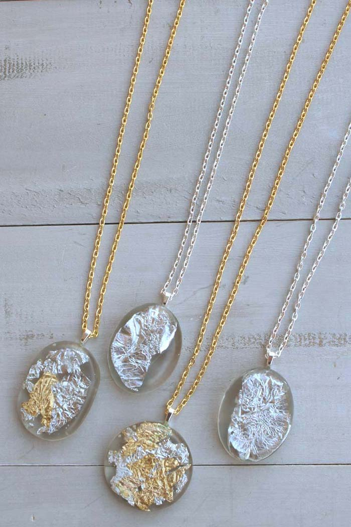 Diy gold silver leaf resin pendants resin crafts craft making pendants out of resin couldnt be simpler these stunning pendants are made with clear resin and shimmery thin gold and silver paper aloadofball Gallery
