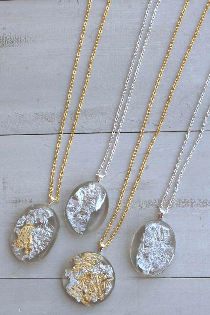 Diy Gold Silver Leaf Resin Pendants Resin Crafts