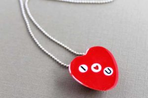 Valentine's Day Necklace with Letter Beads