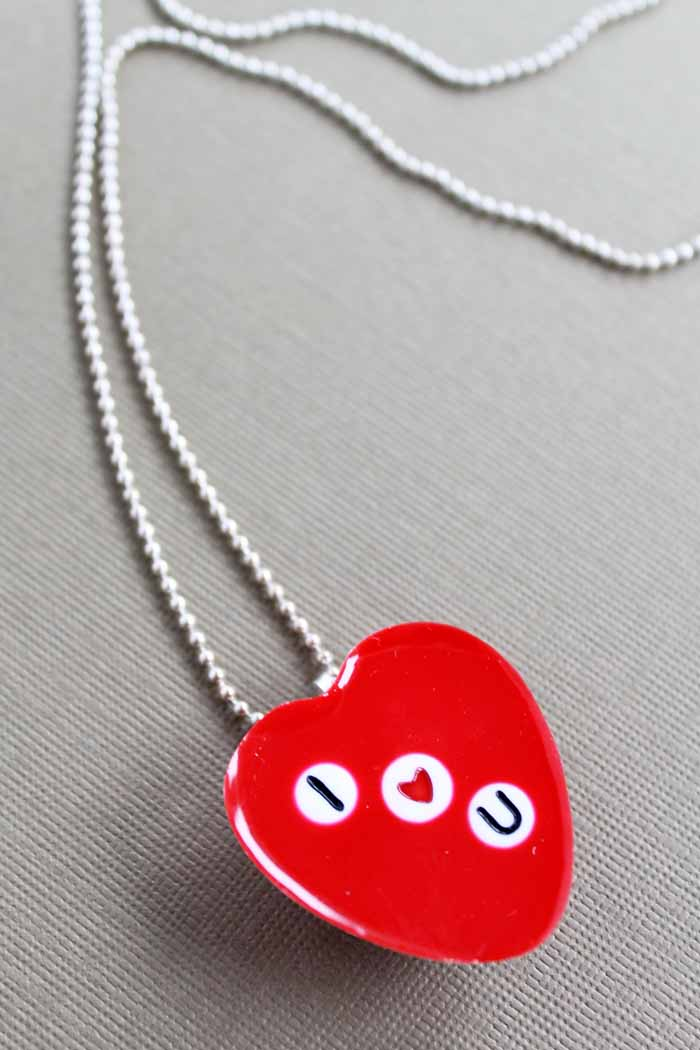 Make a Valentine's Day necklace with letter beads! A cute DIY gift idea that anyone would love!