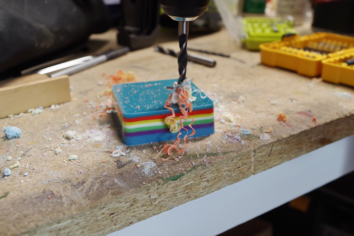 Layering Resin - DIY Pencil Holder- drilling holes into resin for pencils