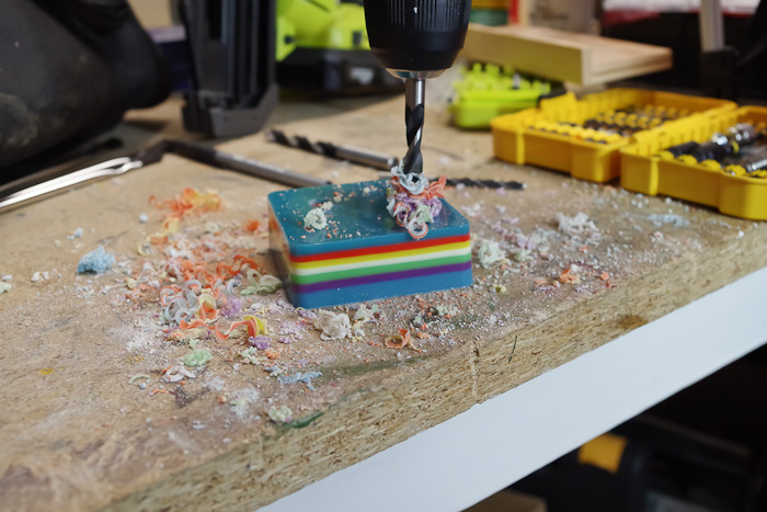 Layering Resin - DIY Pencil Holder- drill until you hit second to last color