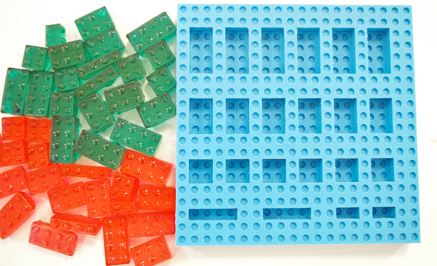 DIY Lego Mold using silicone rubber - completed mold with hard candy made using it