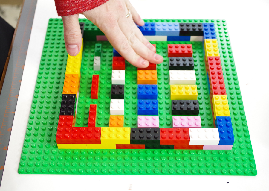 DIY Lego Mold using silicone rubber - press down all pieces to make sure they are secure