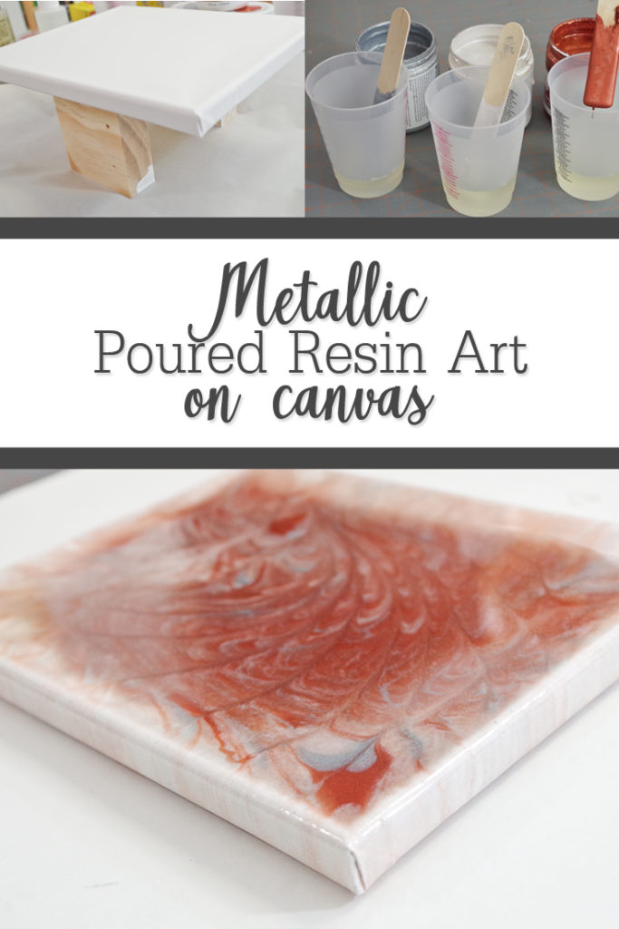 metallic poured resin art on canvas pinterest image